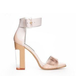 Miista Leather Ankle Strap Block Heeled Sandals